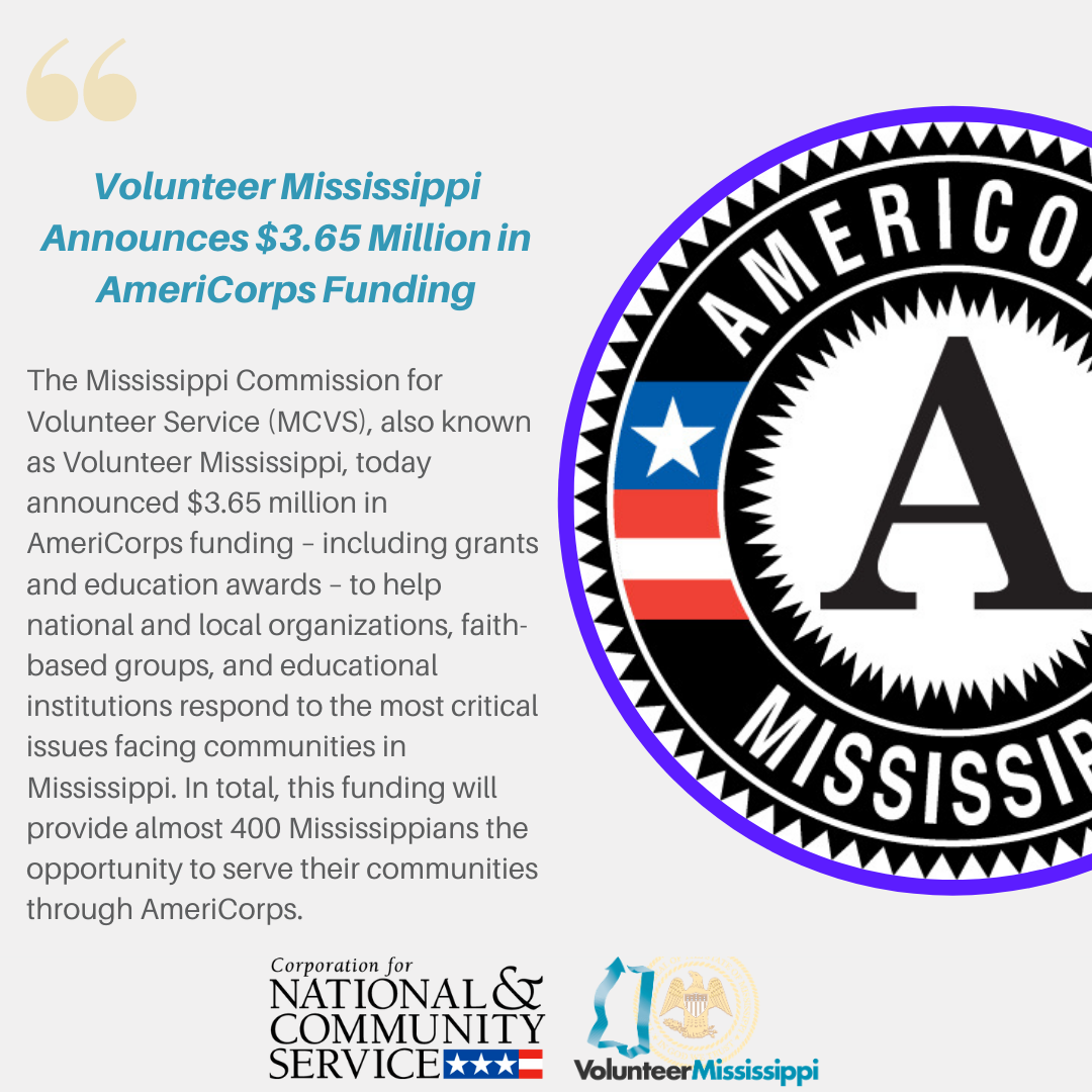 Volunteer Mississippi Announces AmeriCorps Funding